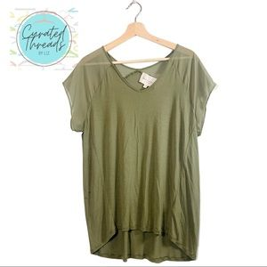 Two by Vince Camuto, Olive Green Sheer Top, Large